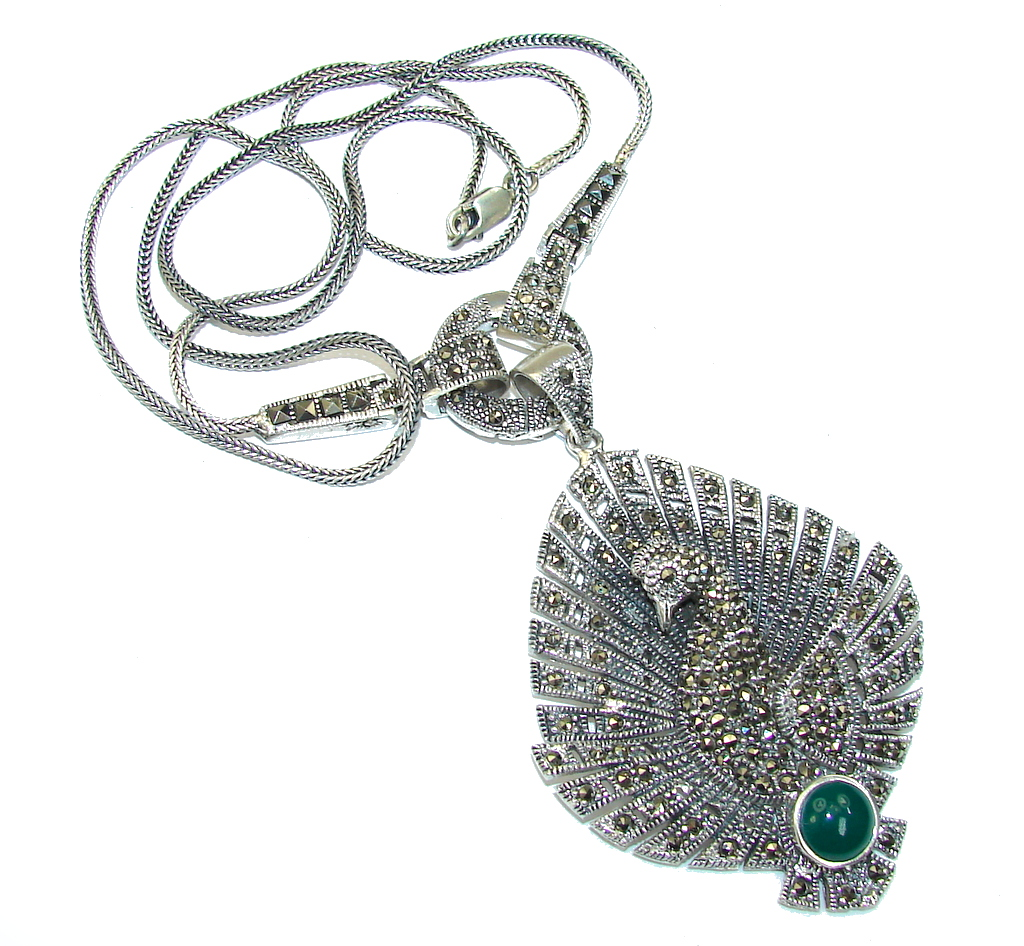 Secret Beauty! AAA Marcasite & Emerald Sterling Silver necklace
