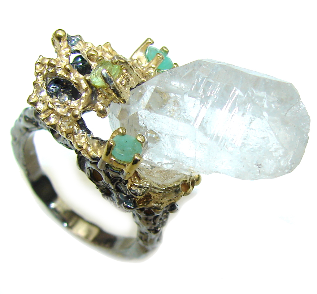 Shocking Baeuty! Mountain Crystal White Topaz & Emerald, Gold Plated, Rhodium Plated Sterling Silver ring s. 8