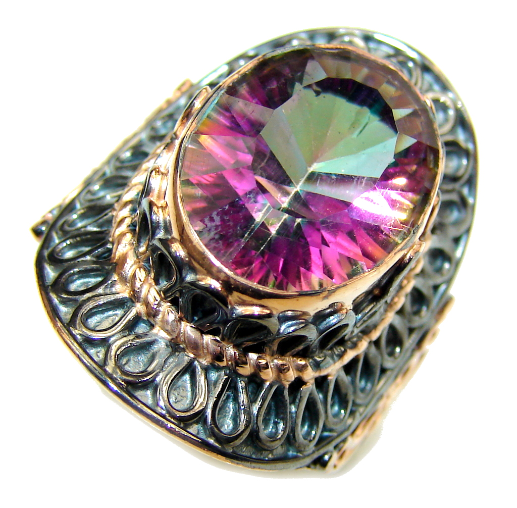 Amazing Rainbow Magic Topaz, Rose Gold Plated, Rhodium Plated Sterling Silver ring; s. 8