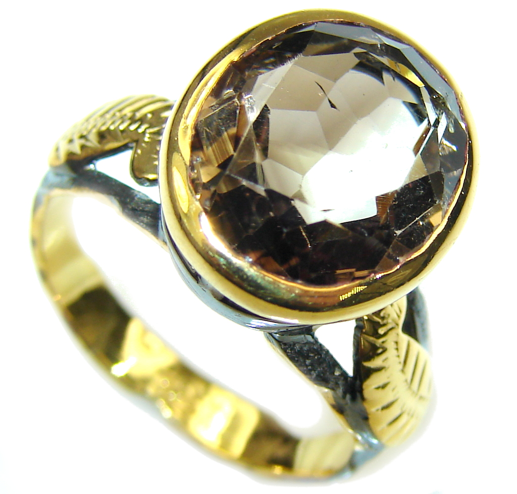 Perfect Gift! AAA Smoky Topaz, Gold Plated, Rhodium Plated Sterling Silver ring s. 8