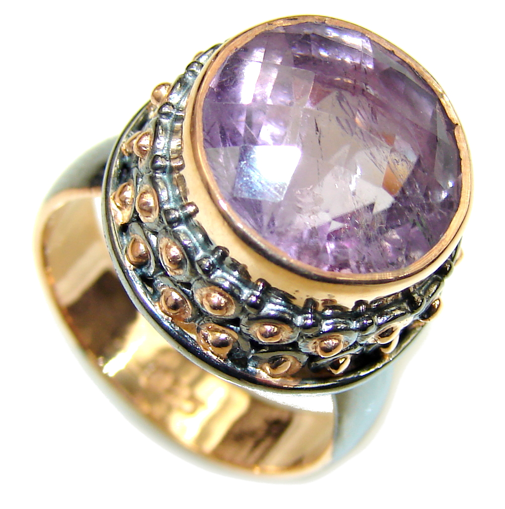 Lovely AAA Purple Amethyst, Rose Gold Plated, Rhodium Plated Sterling Silver ring s. 7