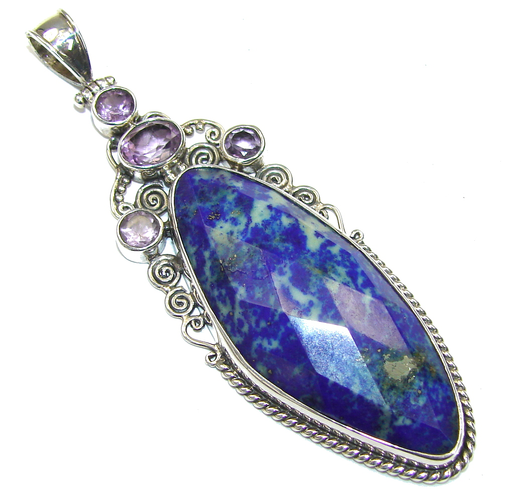 Big! Perfect Blue Lapis Lazuli & Amethyst Sterling Silver Pendant