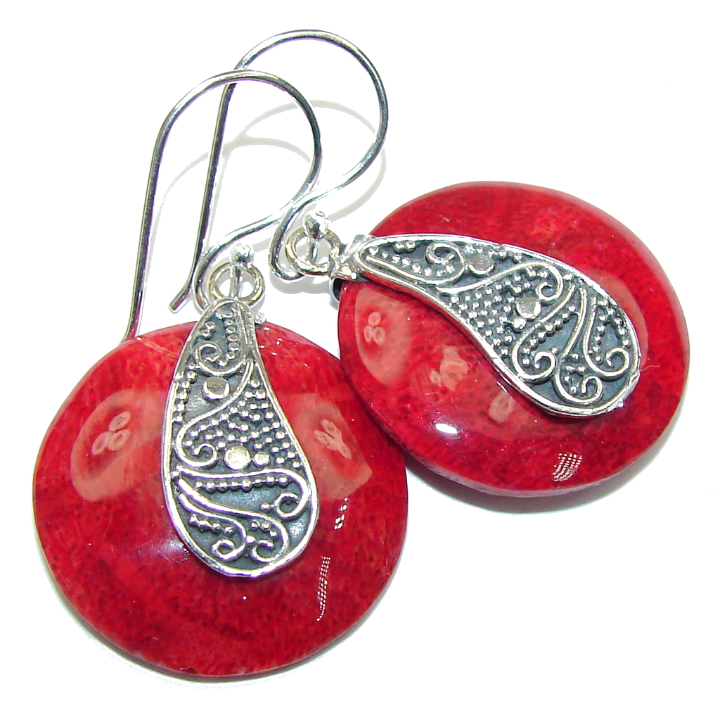 Secret Beauty! Red Fossilized Coral Sterling Silver earrings