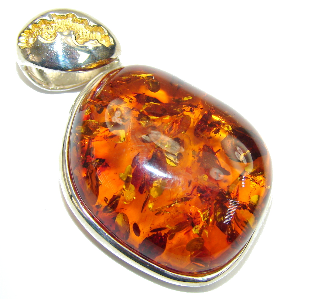 Secret Beauty! AAA Baltic Polish Amber, Gold Plated Sterling Silver Pendant