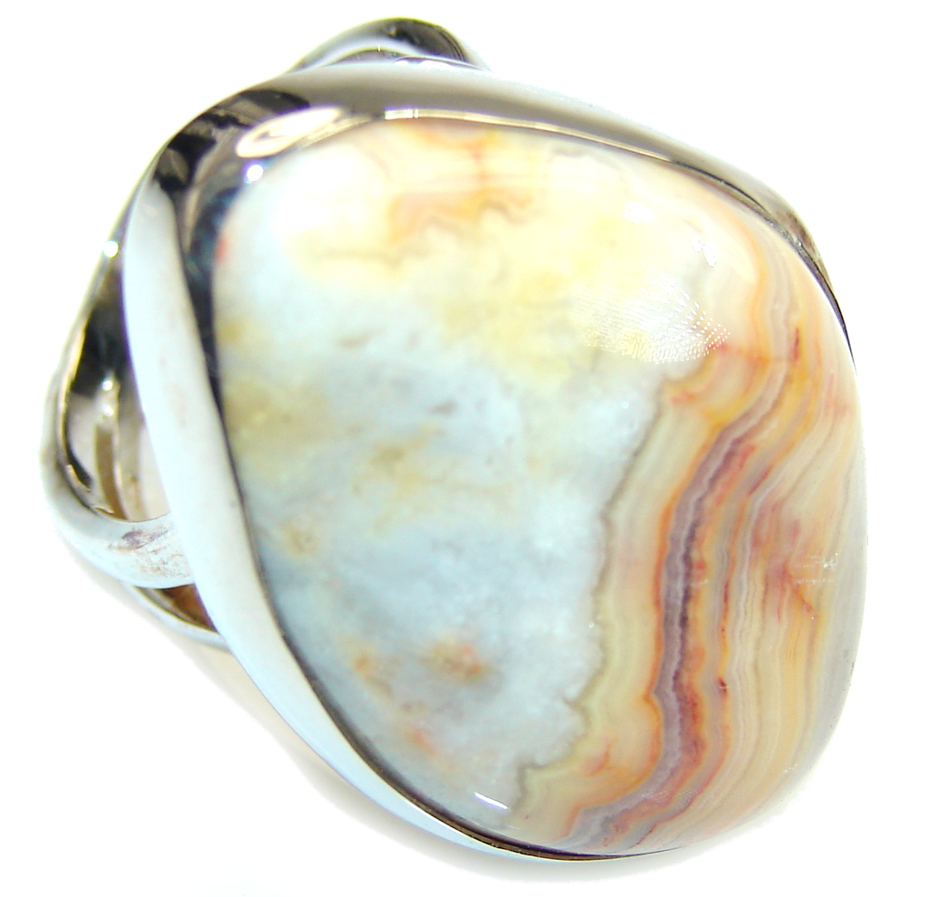 Big! Excellent Crazy Lace Agate Sterling Silver Ring s. 8 - Adjustable