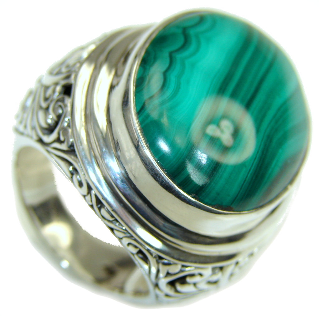 Green Love! Totally Oversized AAA Green Malachite Sterling Silver ring s. 10