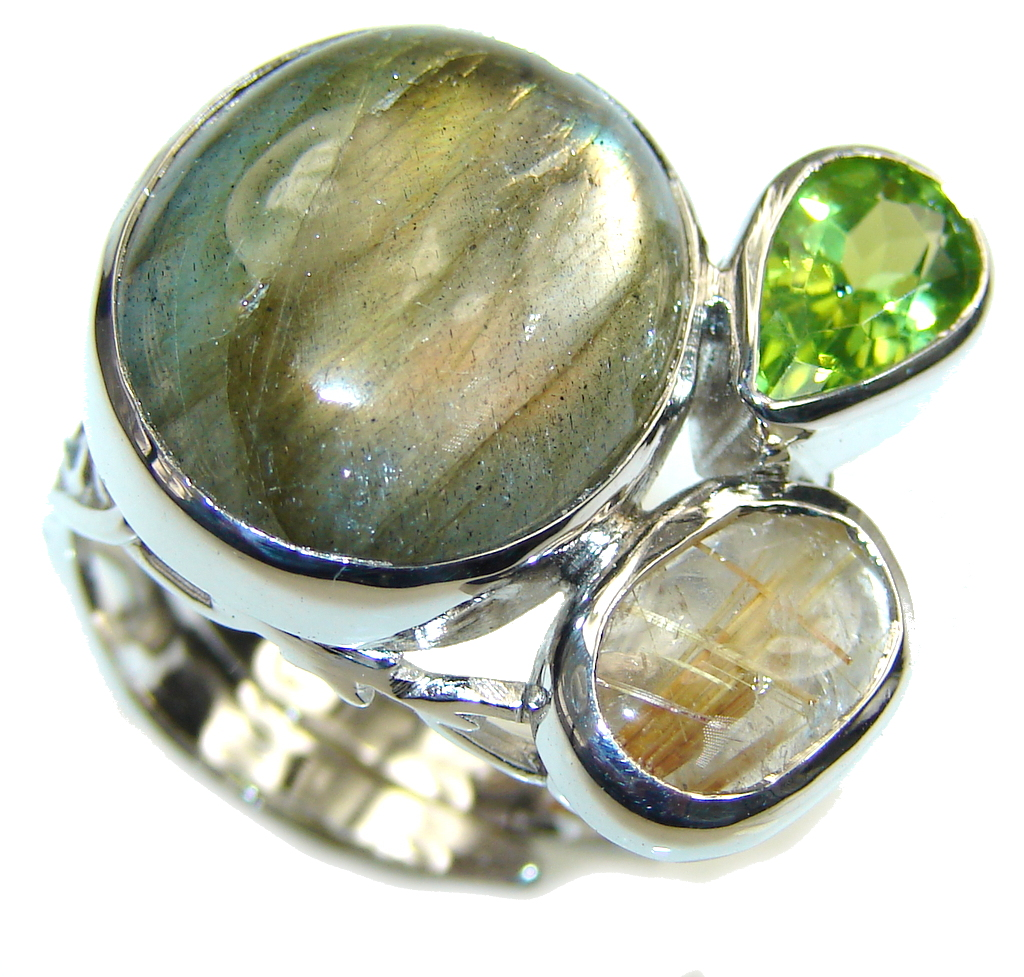 Just Glow! AAA Labradorite & Peridot & Gold Rutilated Quartz Sterling Silver Ring s. 7 - adjustable