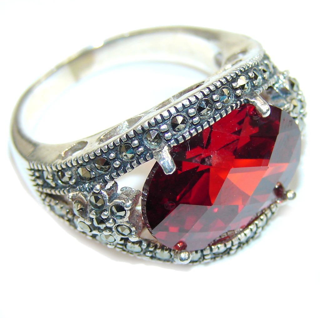 marcassite.com view the photo of  Love Power! Garnet Quartz & Marcasite Sterling Silver Ring s. 9