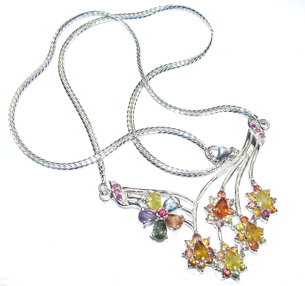 Natural Beauty! AAA Multicolor Sapphire Sterling Silver necklace