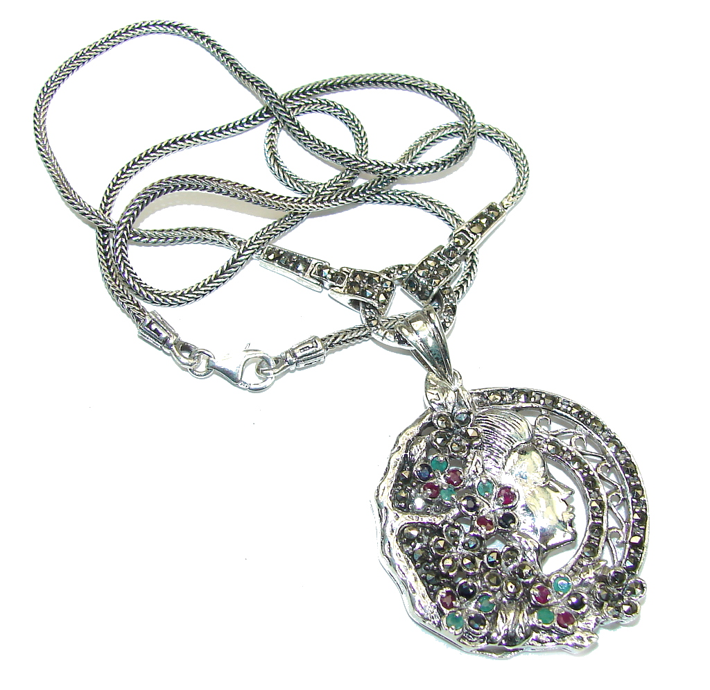 Mother Nature Marcasite & Ruby & Sapphire & Emerald Sterling Silver necklace