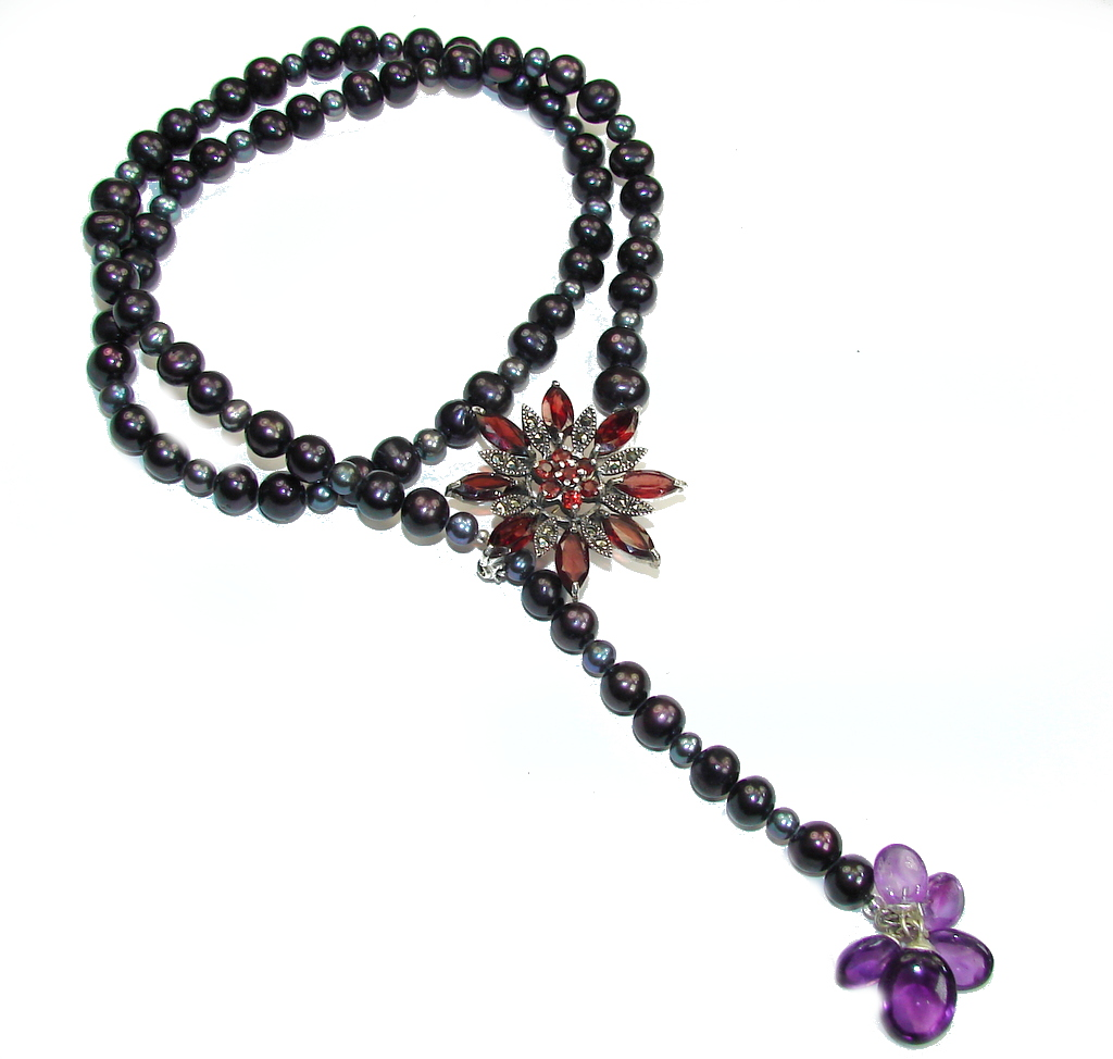 Beautiful! Fresh Water Pearl & Amethyst & Garnet Sterling Silver Necklace