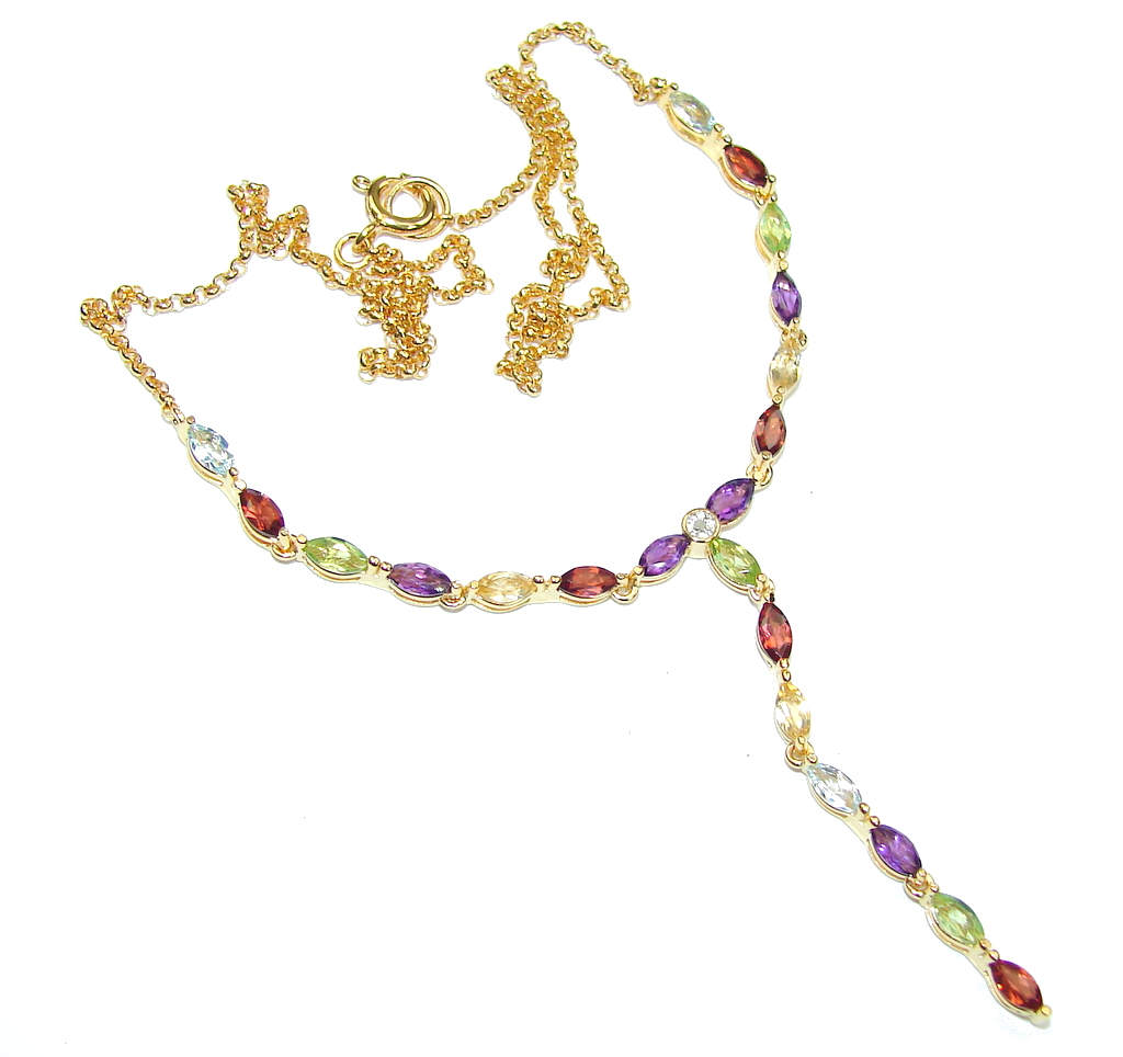 Delicate Design! Amethyst & Garnet & Peridot & Citrine & Swiss Blue Topaz Sterling Silver necklace