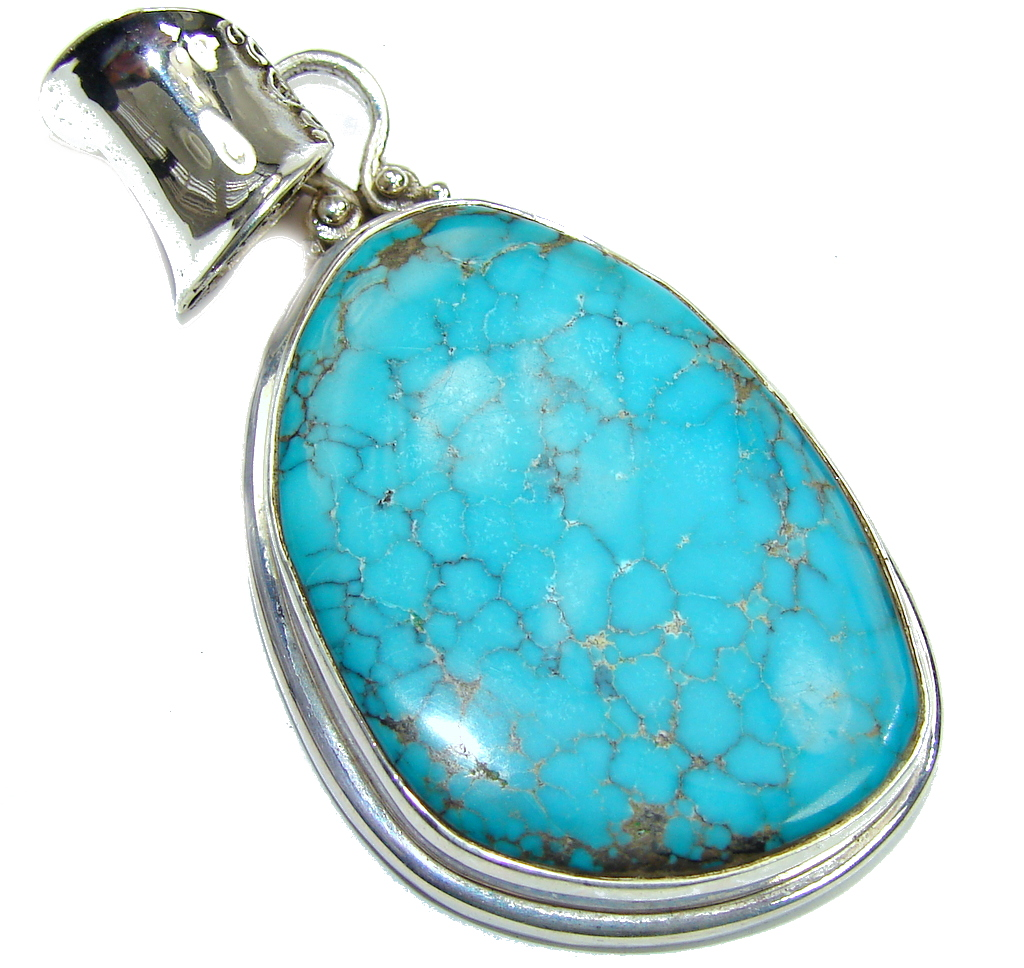 Big!30grams Spider Web Blue Turquoise Sterling Silver Pendant