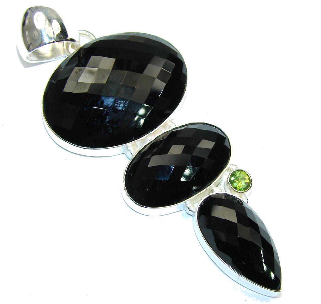 Big! Excellent Black Onyx Sterling Silver Pendant