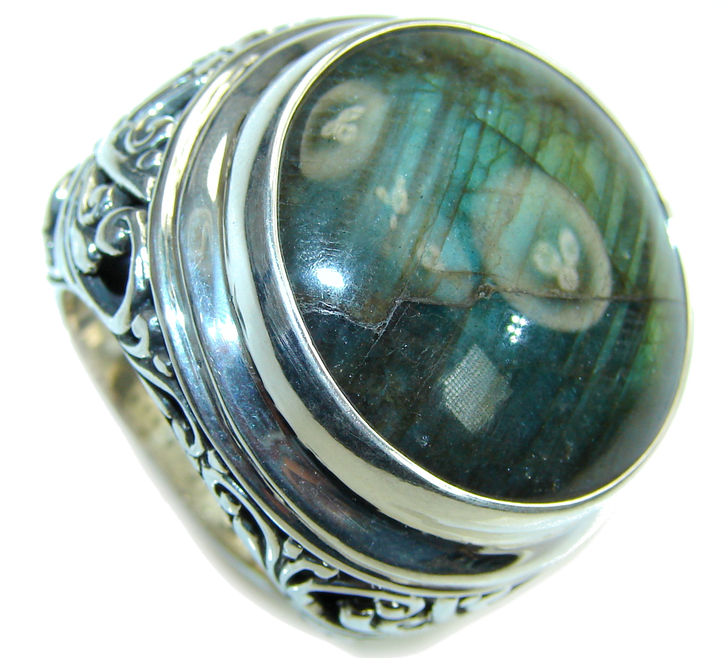 Bali Collection Gaint AAA labradorite Sterling Silver Ring s. 8
