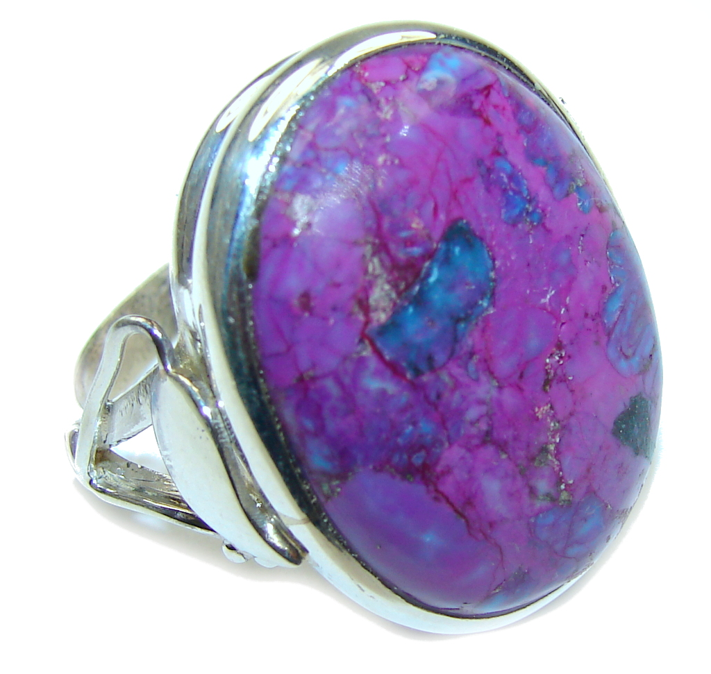 Big! Simple Beauty! Purple Turquoise Sterling Silver ring s. 12 1/2