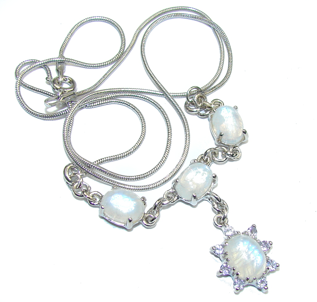 Heavenly Love! White Moonstone Sterling Silver necklace
