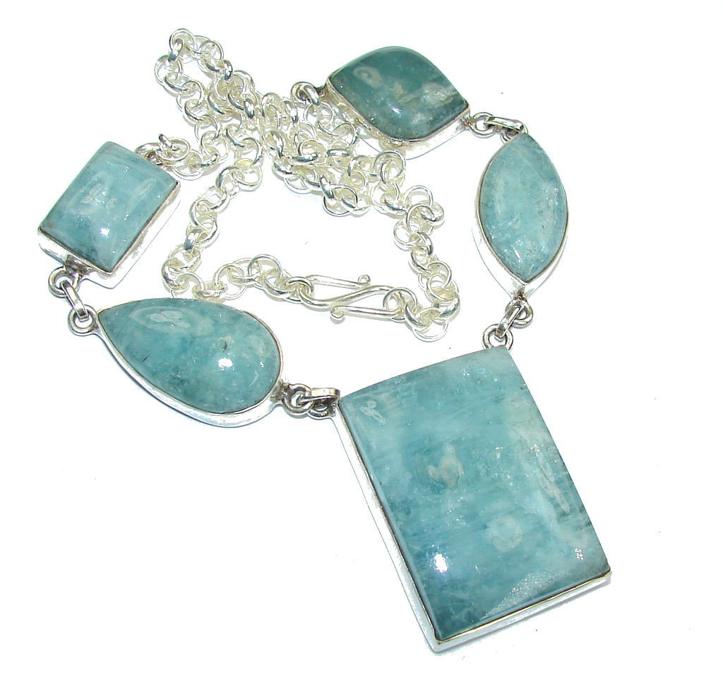 Mystic Sky! Blue Aquamarine Sterling Silver necklace