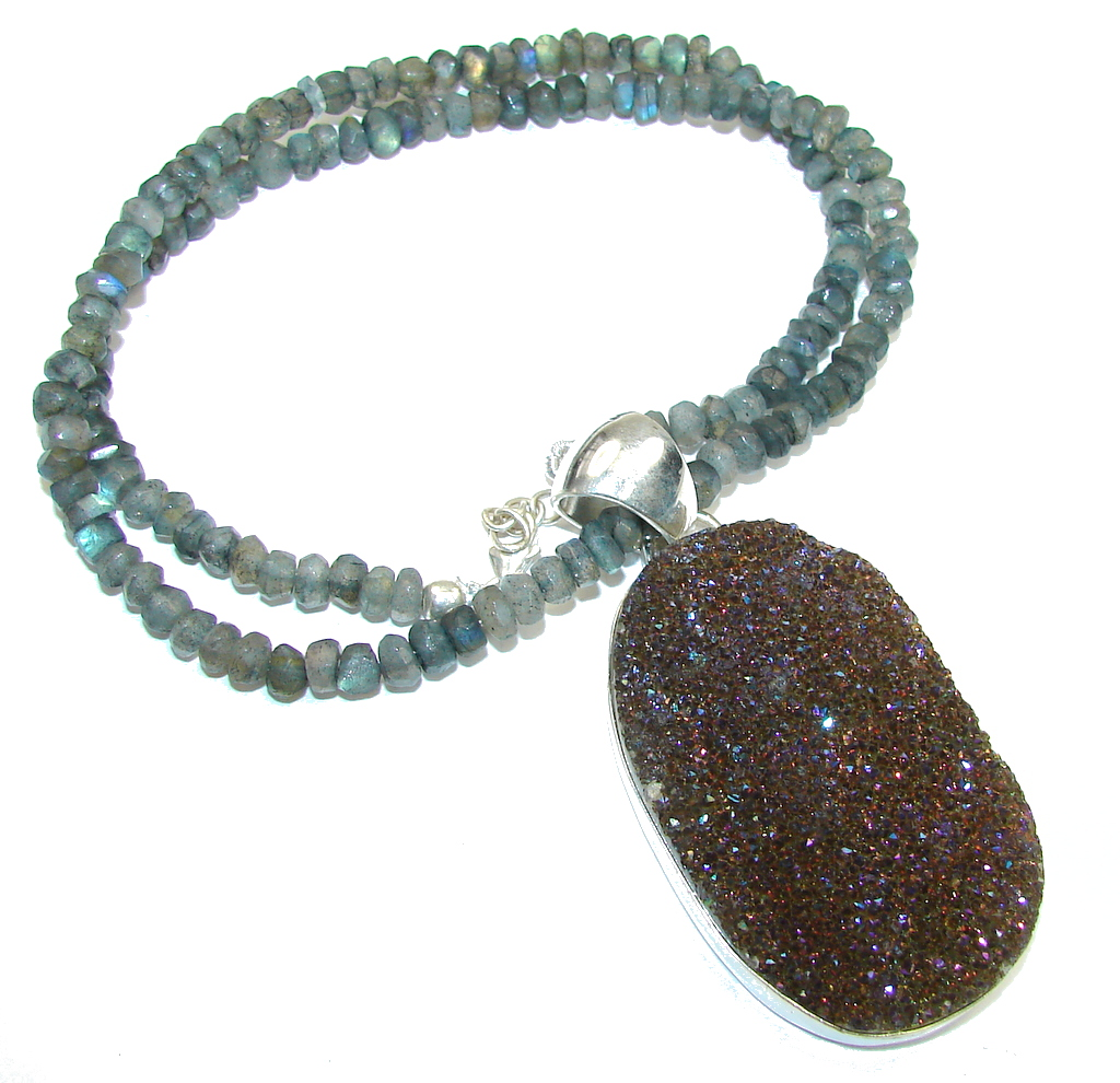 Fashion Design! Rainbow Titanium Druzy & Labradorite Sterling Silver necklace