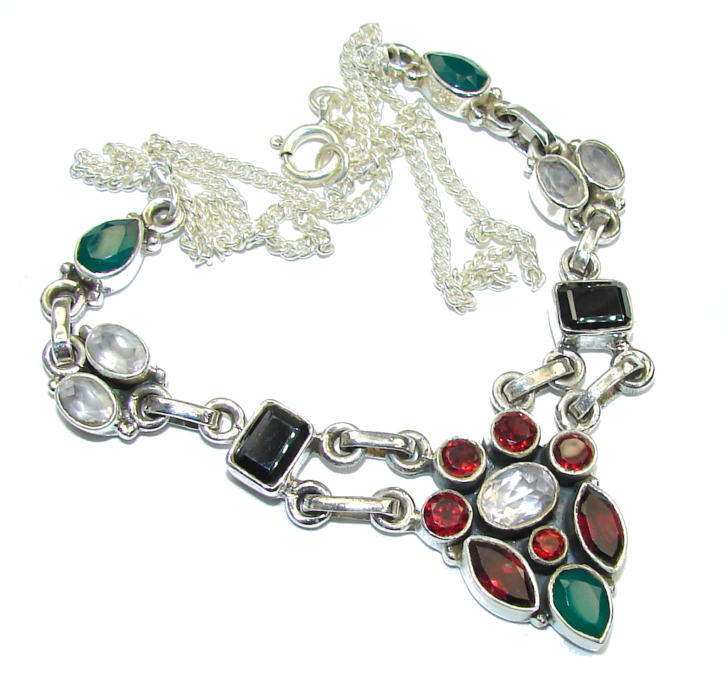 Spring Daisy!! Red Garnet & Rose Quartz & Emerald & Hematite Sterling Silver Necklace
