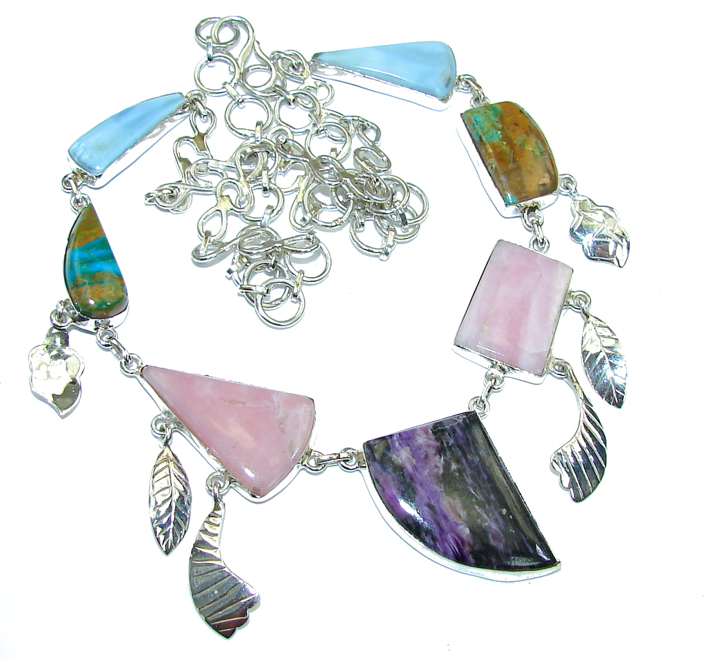 Lavender Secret!! Purple Charoite & Pink Opal & Peruvian Opal & Lace Agate Sterling Silver Necklace