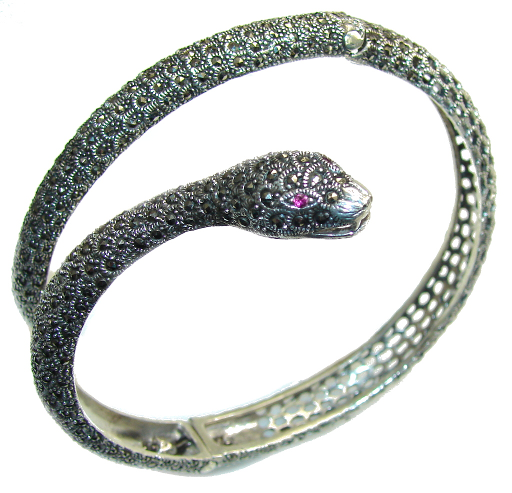 Big! Stylish Cobra Marcasite & Ruby Sterling Silver Armlet Bangle Bracelet