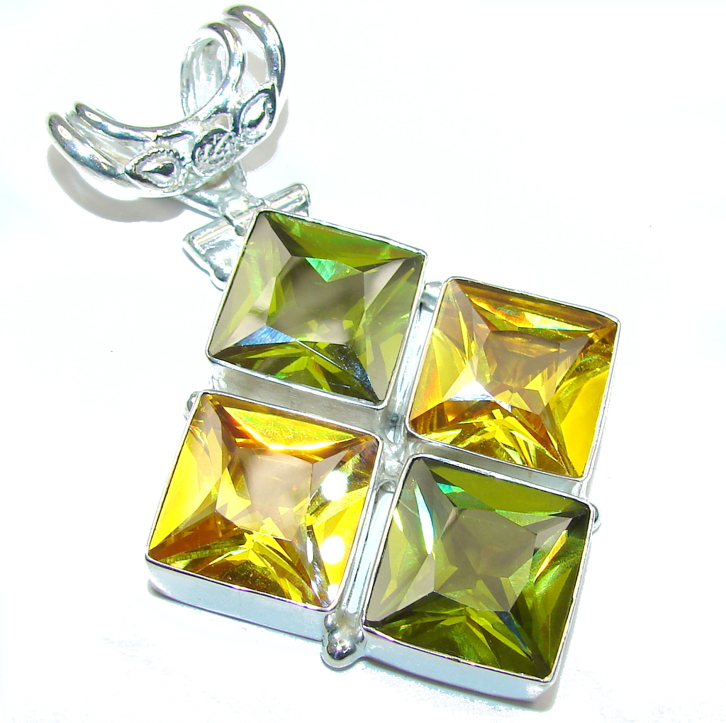 Summer Beauty! Yellow & Green Quartz Sterling Silver Pendant