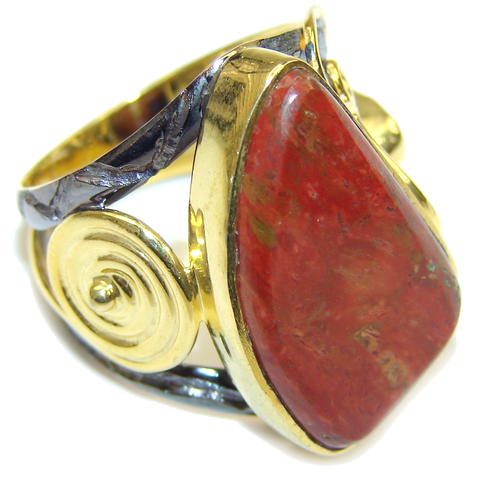 Beautiful DEsign! Red Jasper, Gold Plated, Rhodium Plated Sterling Silver Ring s. 9