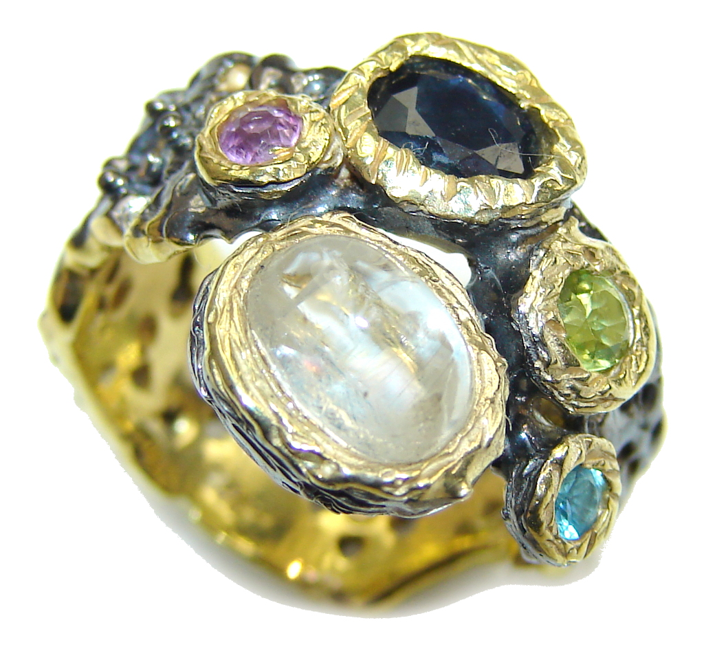 Aura Of Beauty! Multigem , Gold Plated, Rhodium Plated Sterling Silver Ring ..