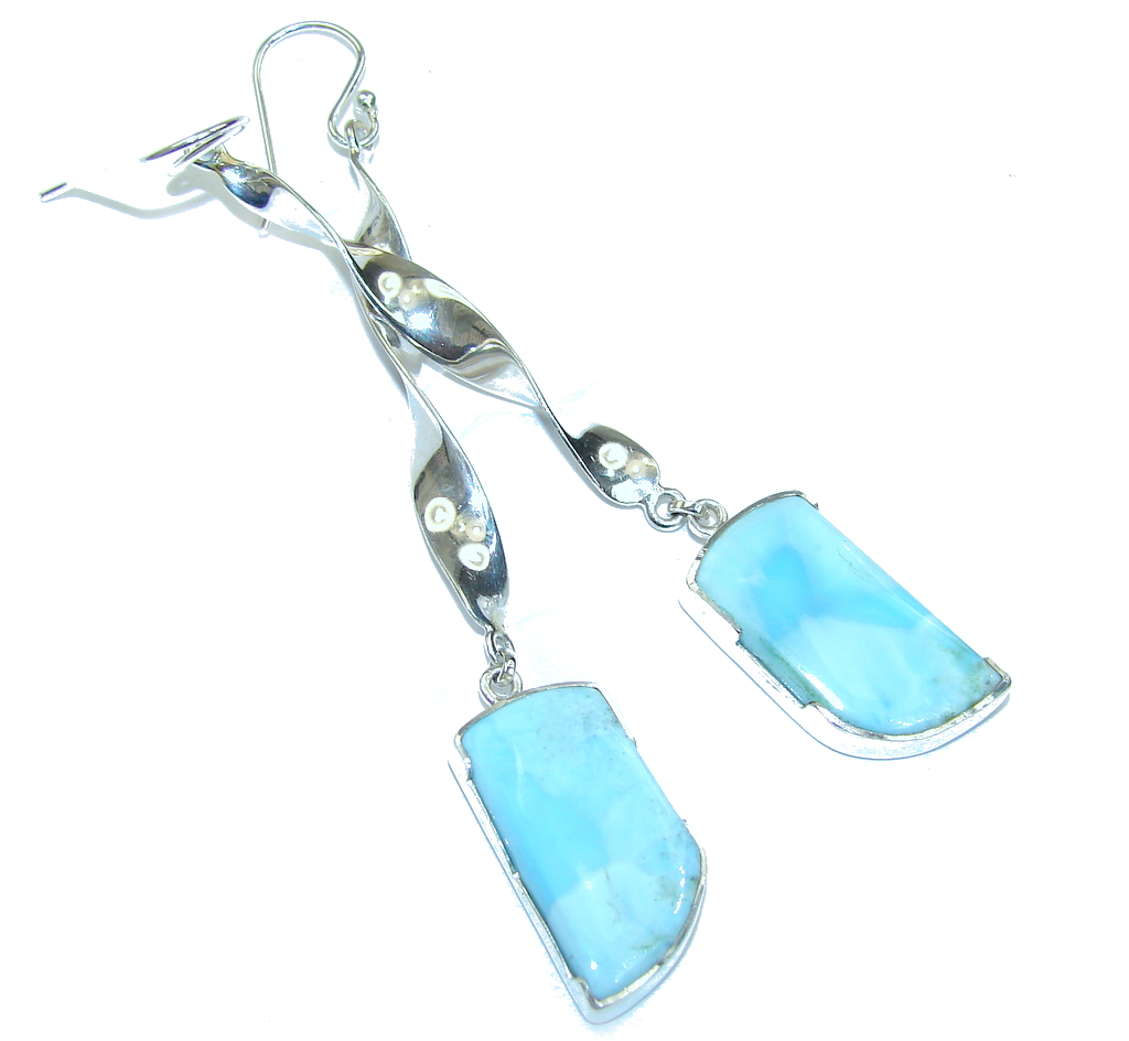 3 1/4 inch long Caribbean Blue Larimar Sterling Silver earrings / Long