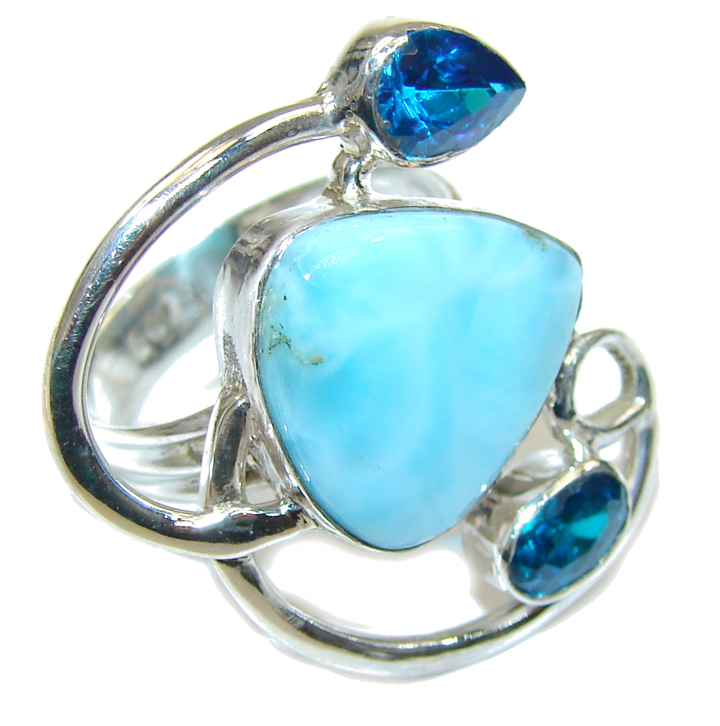 Cloud Song AAA Blue Larimar and London Blue Topaz Sterling Silver Ring s 6