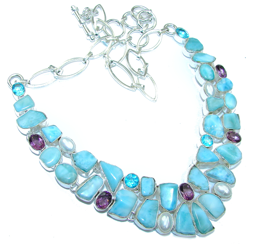 Image of Brazilian Sea!! Natural Blue Larimar & Amethyst & Fresh Water Pearl & Blue Topaz Sterling Silver necklace