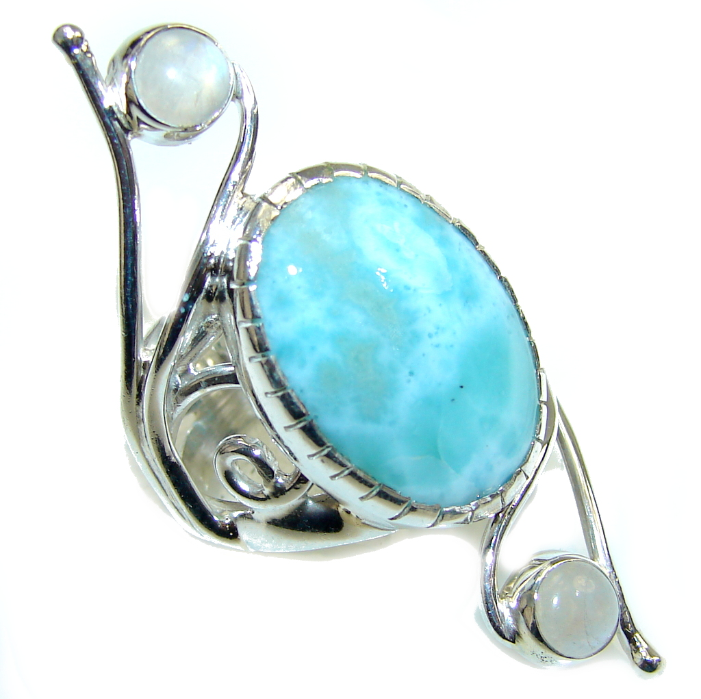 Exclusive AAA Blue Larimar & Moonstone Sterling Silver Ring s. 6 1/2