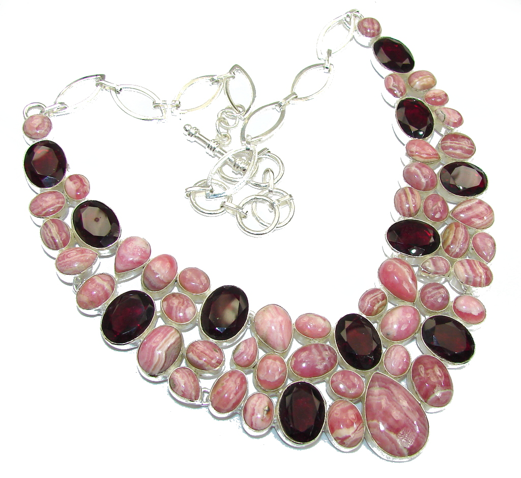 Touch Of Life!! Rhodochrosite & Garnet Sterling Silver necklace