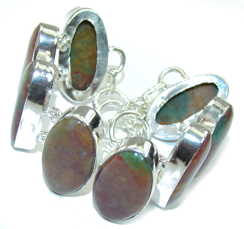 Beautiful Style! Montana Agate Sterling Silver Bracelet