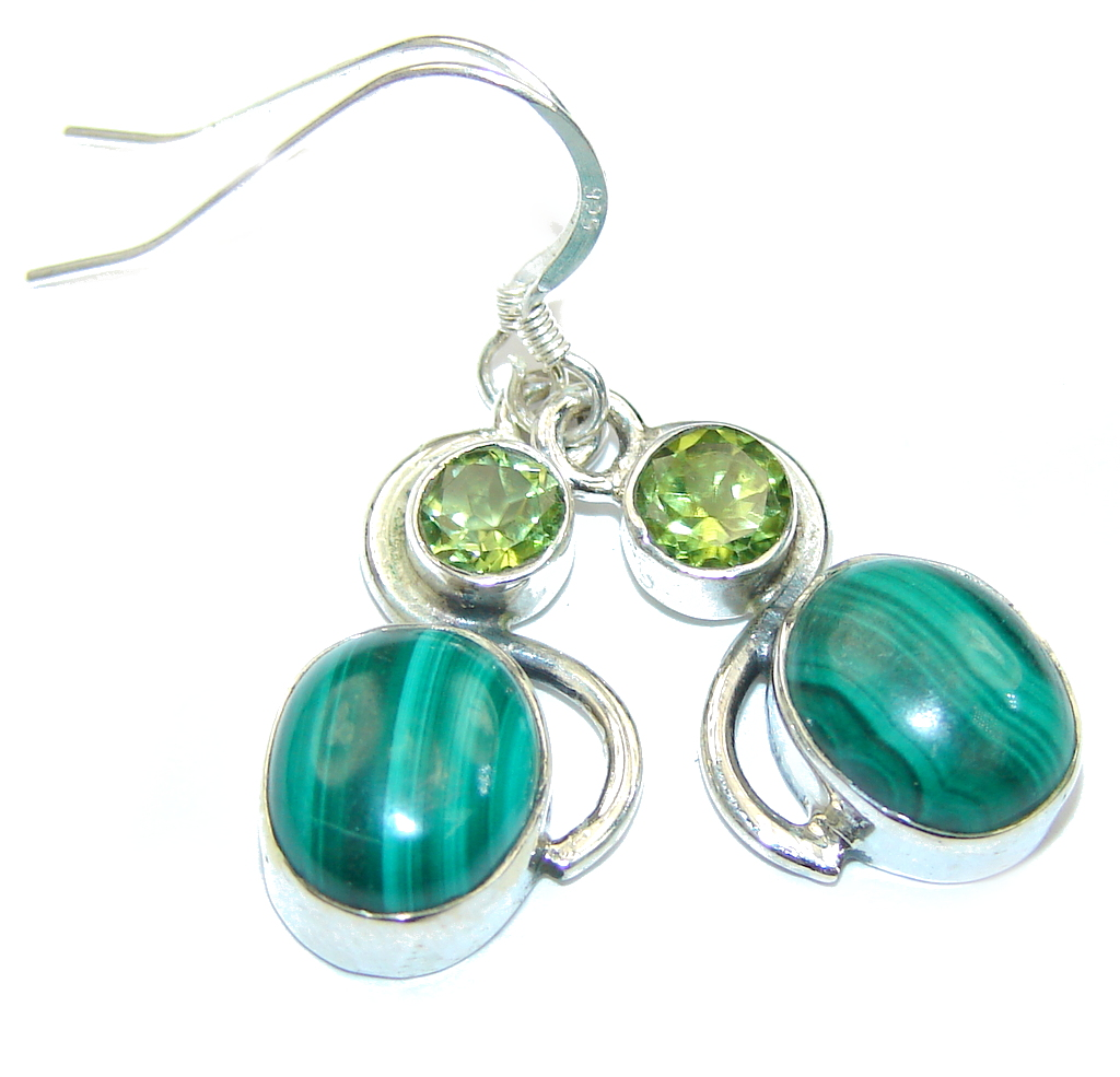 Delicate Green Malachite & Green Peridot Sterling Silver earrings