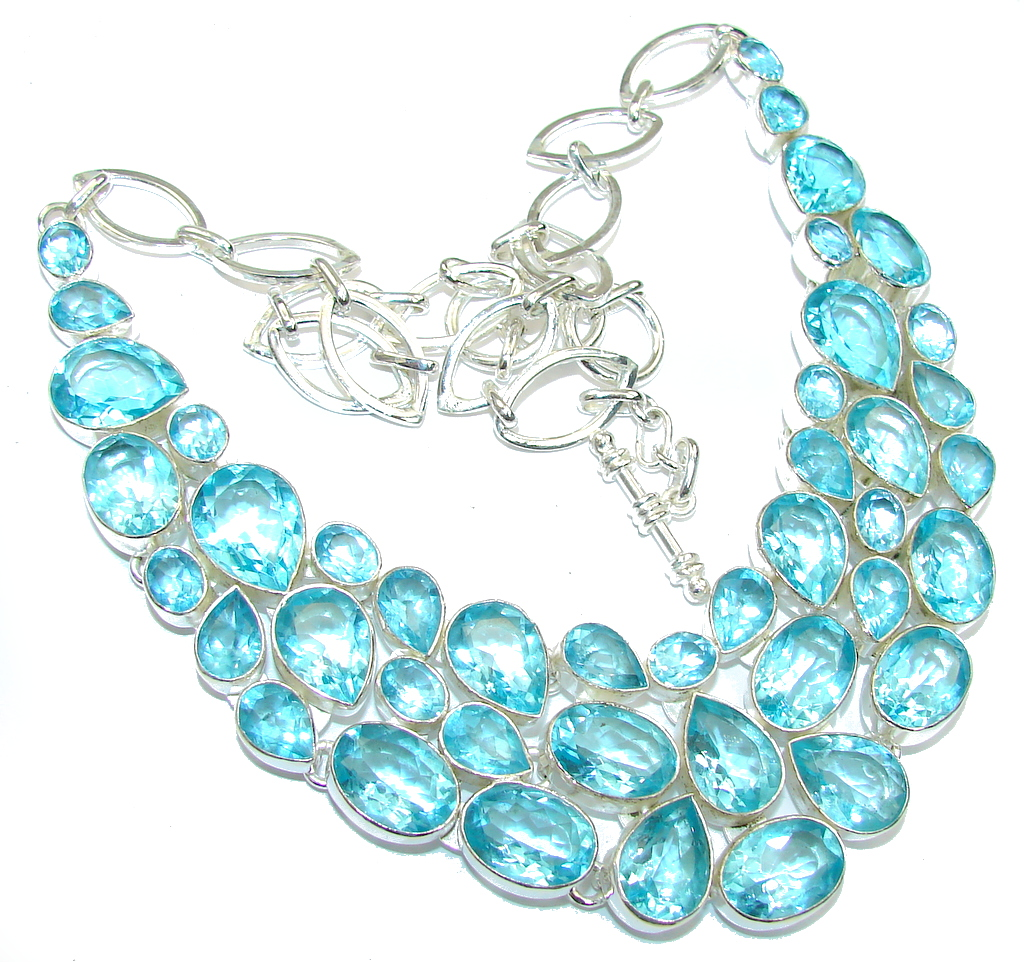 Secret Beauty! Created Blue Topaz Sterling Silver necklace