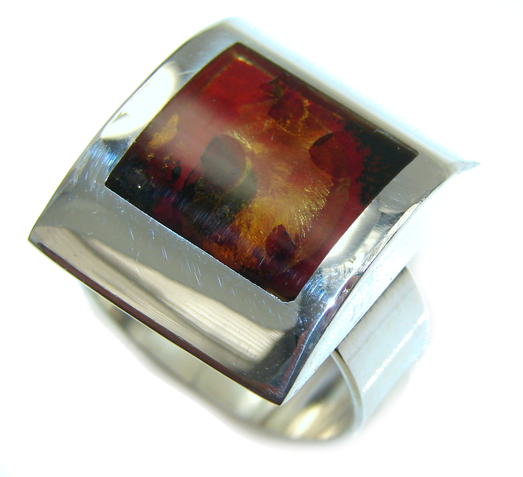 Natural Brown Polish Amber Sterling Silver Ring s. 8 - Adjstable