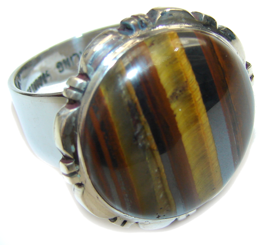 Amazing AAA Iron Brown Tigers Eye Sterling Silver Ring s. 8
