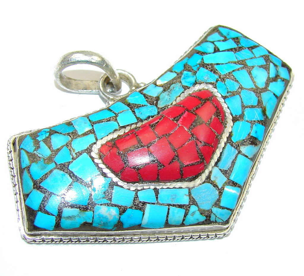 Stylish Design Blue Turquoise and Coral Sterling Silver Pendant