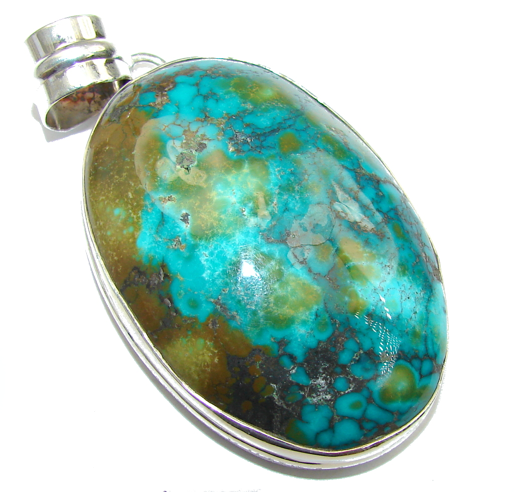 Big! Corrico Lake Green Turquoise Sterling Silver Pendant