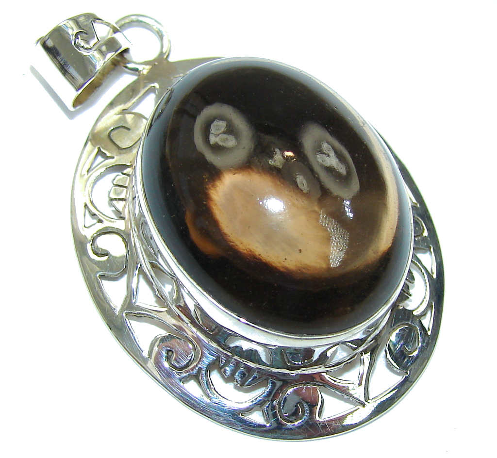Bali Secret! Brown Smoky Topaz Sterling Silver Pendant