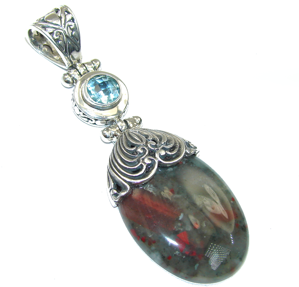 Bali Collection Moss Agate & Blue Topaz Sterling Silver Pendant
