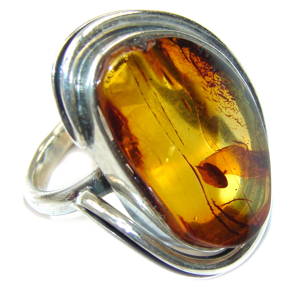 Natural Brown Polish Amber Sterling Silver Ring s. 6 1/2