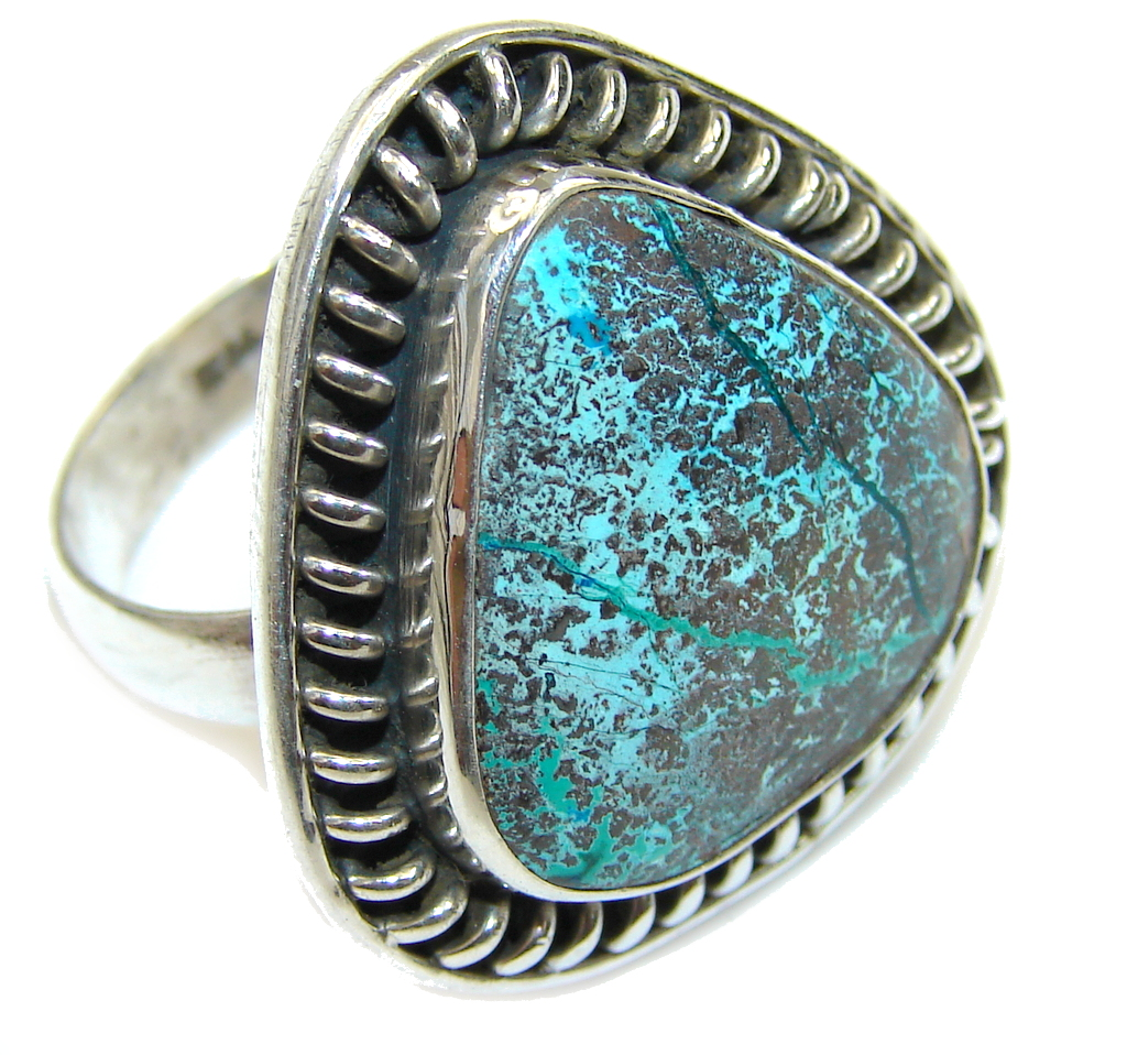 Stone Of Harmony! Chrysocolla Sterling Silver ring s. 10