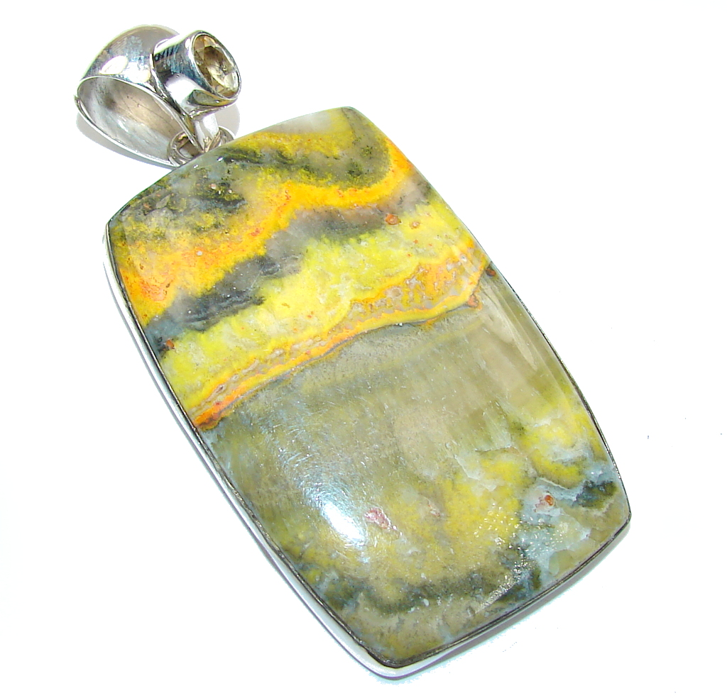 Awesome! Yellow Bumble Bee Jasper & Citrine Sterling Silver Pendant