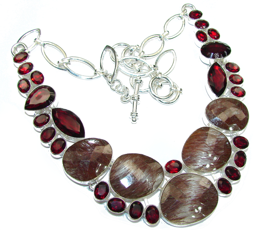 Secret Beauty! Brown Tourmalinated Quartz & Garnet Sterling Silver necklace