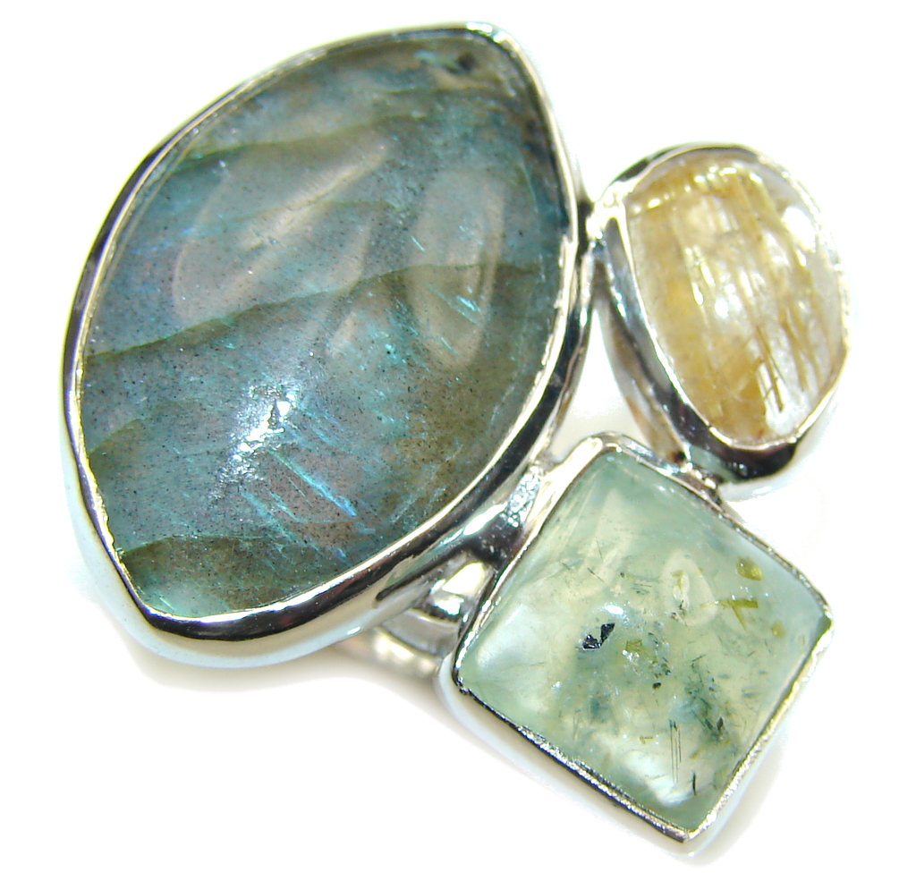 Perfect Vision AAA Labradorite Sterling Silver Ring s. 8 - adjustable