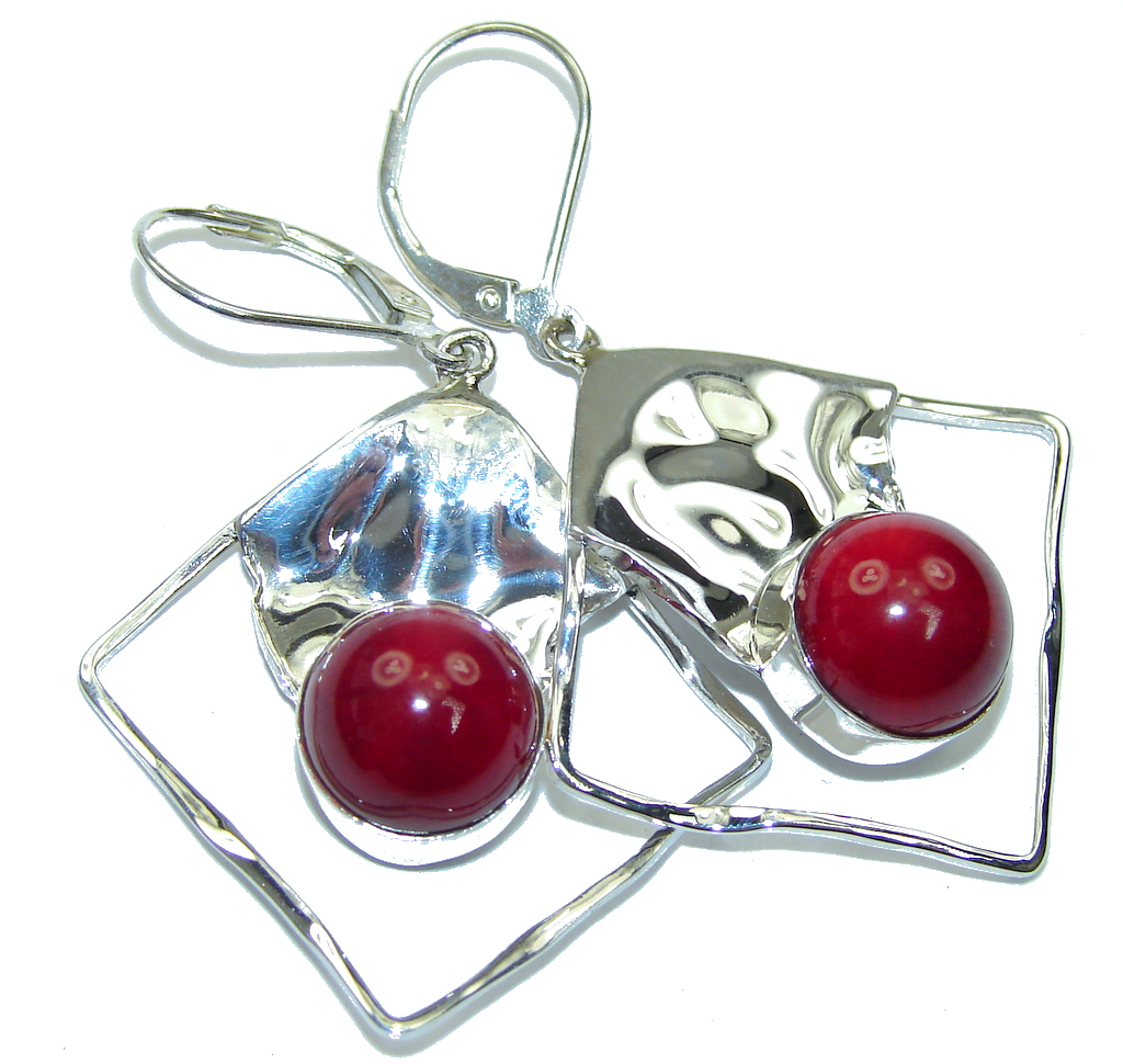 Lovely! Red Fossilized Coral Sterling Silver earrings