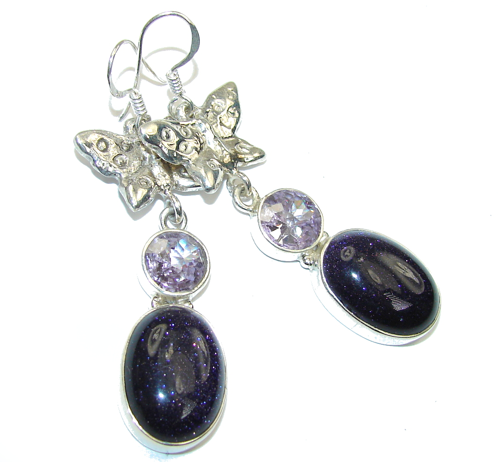 Excellent Blue SunSitara & Iolite Sterling Silver earrings